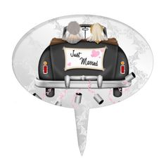 Mrs and Mrs Just Married Wedding Car Cake Topper