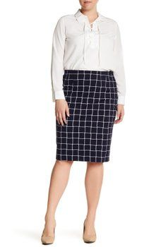 Amanda & Chelsea - Checkered Pencil Skirt (Plus Size)