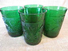 Vintage Anchor Hocking Green Sandwich Glasses - Set of 4