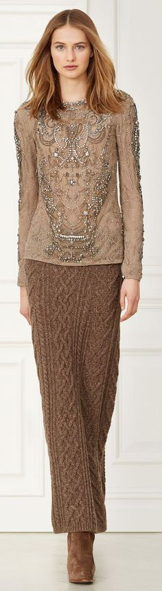 Beautiful embroided top matching colour cable skirt knit. Love the different textiles