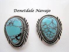 Denetdale Navajo Earrings Sterling Turquoise by VintagObsessions