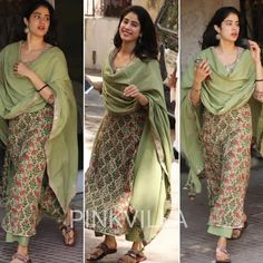 Jahanvi Kapoor Simple and Stunning in 🌟 Perfect for a summer day out 🌟 . Salwar Designs, Kurta Designs Women, Blouse Designs, Ethnic Outfits, Indian Outfits, Indian Clothes, Indian Attire, Indian Wear, Pakistani Dresses