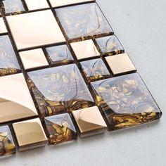 Metal Mosaic Tile Backsplash Crystal Glass Amber Pattern Wall Tiles - Modern - Tile - by Hominter Inc