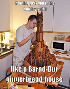 Easy DIY Barad-Dur gingerbread cake! Just kidding I have no idea how you would make this , and it looks like it might have taken a bit of time to make
