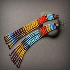 Multicolor shoulder duster earrings Unusual beaded earrings Very long dangle earrings Colorful seed bead jewelry Extra long fringe earrings