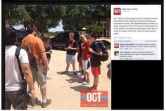 OCT-kids: Open Carry Texas dorks approach school children, tell them gun control is the same as Jim Crow era.  JAIL THESE FOOLS!