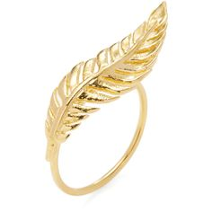 JACQUIE AICHE JACQUIE AICHE Women's Feather Ring - Gold - Size 6.5 ($85) ❤ liked on Polyvore featuring jewelry, rings, gold, gold tone rings, jacquie aiche, feather jewelry, gold feather jewelry and long rings