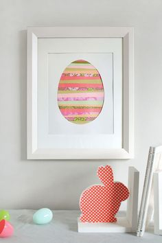 Paper Strip Easter Egg Tutorial:  Let your little one arrange strips of colorful paper to create this beautiful, minimalistic Easter art for your home.