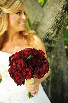 Deep #red black-tipped rose bouquet
