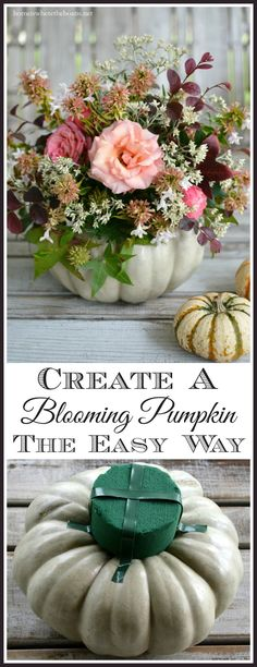 Create a Blooming Pumpkin Centerpiece the easy way, no carving required! | homeiswheretheboatis.net #pumpkinvase