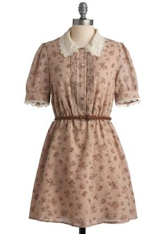 Tea and Scones Dress - White, Floral, Buttons, Lace, Peter Pan Collar, A-line, Short Sleeves, Mid-length, Work, Casual, Shirt Dress, Spring, Summer, Fall, Tan, Pink, International Designer