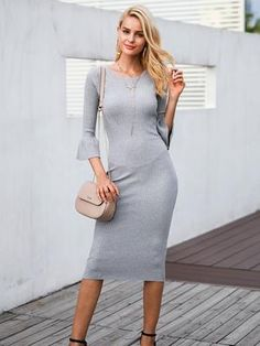 Butterfly Sleeve Knitting Sexy Bodycon Elastic Soft Knee Lenght Cotton - Cloth Fix Discount Womens Clothing, Womens Clothing Stores, Glamour Ladies, Cropped Trousers, Cotton Sweater, Winter Dresses, Online Shopping Clothes, Sexy Dresses, Tight Dresses