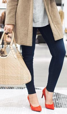 #fall #shoes Orange Pumps // Cream Tote Bag