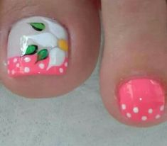 #uñasdecoradas Pedicure Designs, Manicure E Pedicure, Toe Nail Designs, Cute Toe Nails, Toe Nail Art, Acrylic Nails, Summer Toe Nails, Flower Nails, Beautiful Nail Art