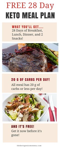 Get your FREE 28 Day Keto Meal Planner. This is great for anyone that's starting the Ketogenic diet and needs some guidance on what to eat on a daily basis!