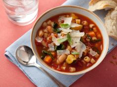 Minestrone Soup with Pasta, Beans and Vegetables from FoodNetwork.com