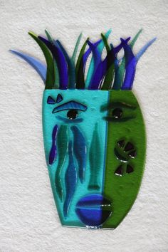 fused+glass+masks | Hunter of Joy mask - with stand - $390