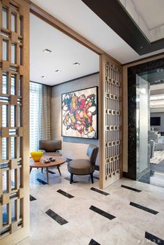 House & Apartment: Elegance & Luxuriance Penthouse Design in Cape Town, Africa. Amazing Hotel Design Living Room with Wall Art