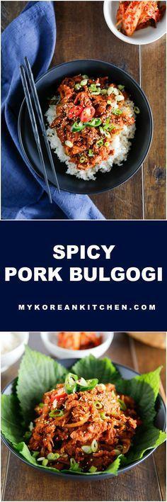 Spicy Pork Bulgogi Rice Bowl - My Korean Kitchen Pork Recipes, Asian Recipes, Cooking Recipes, Ethnic Recipes, Indonesian Recipes, Orange Recipes, Cooking Tips, Recipies, Korean Kitchen