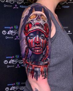 Skull & Tribal Girl - Colour Realism Arm Tattoo tattoo tattoo giants love You - Tattoos 3d, State Tattoos, Dream Tattoos, Unique Tattoos, Body Art Tattoos, Tribal Tattoos, Girl Tattoos, Tattoos For Guys, Sleeve Tattoos