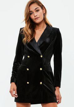 Missguided - Black Velvet Gold Button Blazer Dress