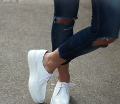 Jeans & white shoes. Vans instead of these tho