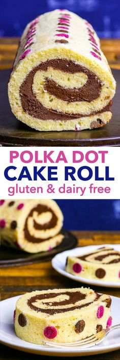 Gluten & Dairy Free Polka Dot Roll Cake {gluten, dairy, soy & nut free} - This gluten and dairy free roll cake combines the taste of comfort food with the appearance of a sophisticated dessert. The gluten free vanilla sponge is fluffy and flavourful, and goes wonderfully together with the dairy free chocolate frosting. The polka dot pattern adds the finishing touch, and only contains natural colourings.