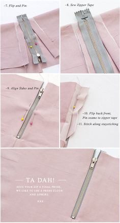 beautiful exposed zip tutorial from Pattern Runway, perfect little thing to learn on a sunday...