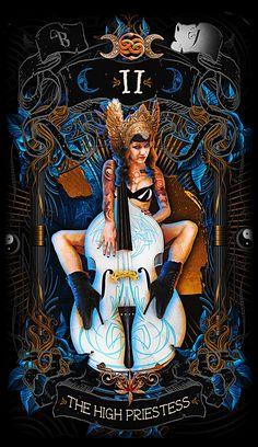 The High Priestess-Major arcana card https://www.kickstarter.com/projects/1049685103/the-psychobilly-tarot #kickstarter #tarot