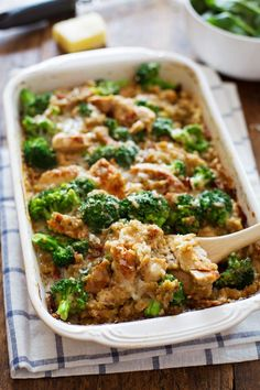 This Creamy Chicken Quinoa and Broccoli Casserole is made from scratch with healthy ingredients. Comfort food with 350 calories per serving.