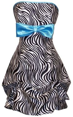 Amazon.com: Zebra Strapless Satin Bubble Prom Dress Holiday Coctail Party Gown w/ Color Bow: Clothing