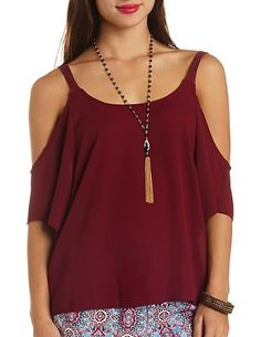 Crochet Strap Cold Shoulder Chiffon Top by Charlotte Russe