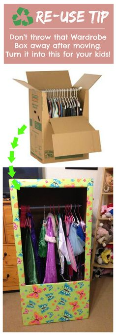 Why throw away your boxes when you can repurpose them into something like this? #reuse #boxes #movingsupplies