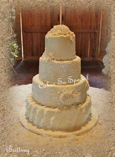 Ruffles+and+lace+wedding+cakes | French Vanilla wedding cake with ruffles, lace, piping, fantasy ...