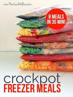 8 Crockpot Freezer Meals in 35 Minutes.  (This post includes printable recipes and a grocery list.) I made these and they're healthy and delicious!