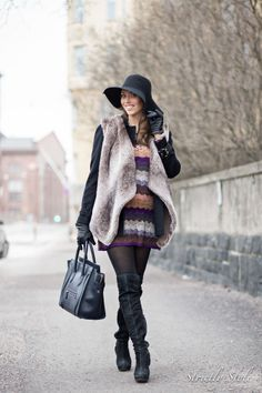 maternity outfit strictly style faux fur vest over the knee boots