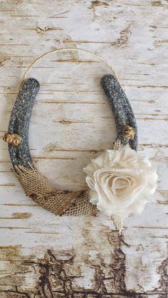 Shabby Chic Horseshoe, Burlap and Flower, Wedding Gift, Housewarming Gift…