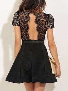 Beautiful Black Lace Dress Short Sleeve Flare Sexy Dress