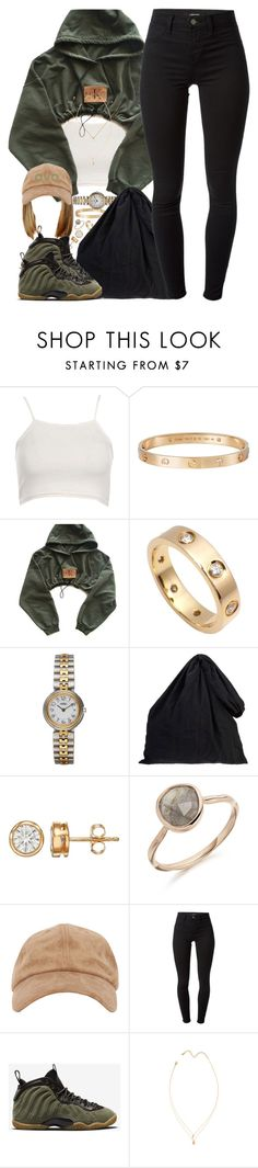 """Olive"" by oh-aurora ❤ liked on Polyvore featuring Boohoo, Cartier, Hermès, MM6 Maison Margiela, J Brand and NIKE"