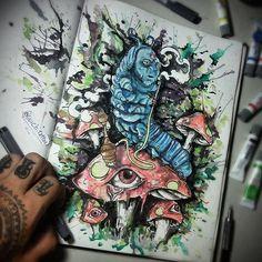 "#mulpix ""Quem és tu? - disse a lagarta""   Disponível em prints a partir de março,  reservas : 48 9681 4646 ou cb-art@hotmail.com   #absolem  #aliceinwonderland  #timburton  #arts_help  #artistoexpress  #artbasemint  #artist  #art  #colors  #paint  #watercolor  #painting  #likeart  #tattoo2me  #tattoolife   #society6  #desenho  #ilustration  #madness  #draw  #instaart  #art"