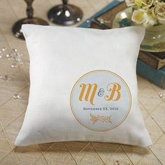 """""""Notable"""" Personalized Ring Pillow with Circle Floral Monogram Berry (Pack of 1)"""