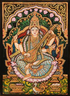 Find beautiful South Indian Paintings from Tanjore & Mysore. We also have intricate Gold Leaf Paintings at ExoticIndia, the online Indian Paintings store. Mysore Painting, Kalamkari Painting, Kerala Mural Painting, Tanjore Painting, Indian Art Paintings, Mandala Painting, Silk Painting, Watercolor Painting, Saraswati Goddess