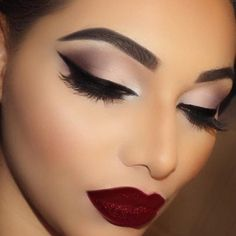 Simple brown smokey eye makeup with matte dark red lips