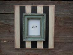 5x7 Chunky Black and White Striped Frame by BigEyedFishDesigns, $50.00