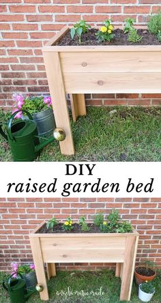 Learn how to build a raised garden bed with legs! This cedar DIY raised garden bed is easy to build, looks great, and is elevated for easy planting! Garden Yard Ideas, Diy Garden Projects, Wood Projects, Easy Garden, Diy Garden Box, Outdoor Projects, Outdoor Decor, Raised Planter Boxes, Garden Planter Boxes