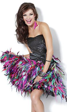 Short strapless dress with multi-color feather skirt. - Different but cute!