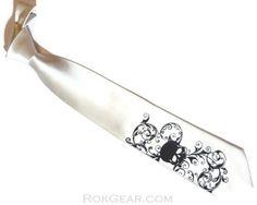 Ivory skull necktie distressed skull print by RokGear =
