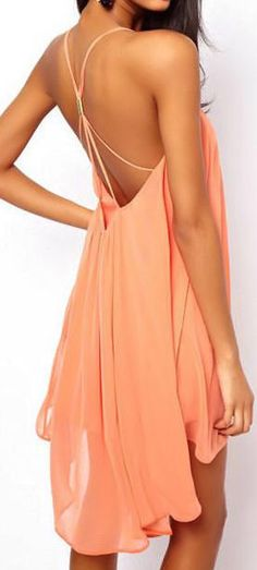Coral Chiffon Dress //