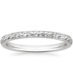 A stunning hand-engraved, vintage-inspired white gold ring.
