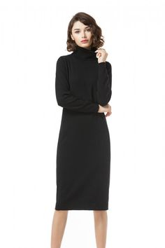 Knitbest Womens Turtle Neck Long Sleeve Cotton Sweater Dress Knit Sweater Dress, Cotton Sweater, Knitwear, High Neck Dress, Dresses For Work, Turtle Neck, Knitting, Long Sleeve, Sweaters